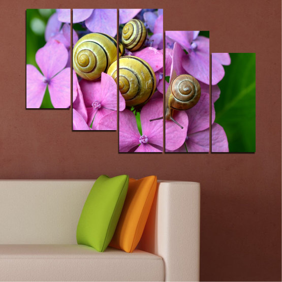 Canvas prints & wall decorative panels - 5 pieces №0486 » Purple, Green, Gray, Milky pink » Flowers, Animal, Snail Form #7
