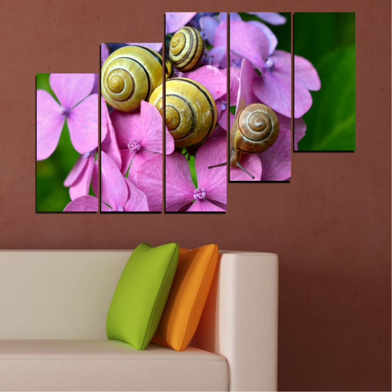 Canvas prints & wall decorative panels - 5 pieces №0486 » Purple, Green, Gray, Milky pink » Flowers, Animal, Snail Form #8