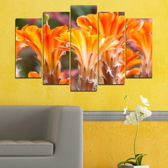 Декоративни панели и картини от канава - от 5 части №0487 » Оранжев, Кафяв, Сив » Природа, Цветя, Кактус Form #1
