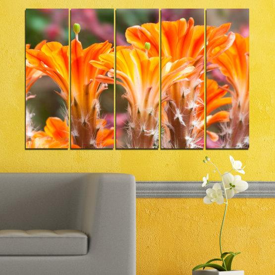 Декоративни панели и картини от канава - от 5 части №0487 » Оранжев, Кафяв, Сив » Природа, Цветя, Кактус Form #2