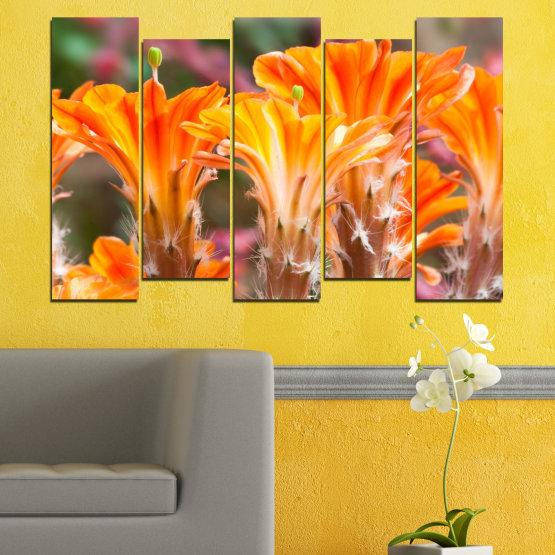 Декоративни панели и картини от канава - от 5 части №0487 » Оранжев, Кафяв, Сив » Природа, Цветя, Кактус Form #3