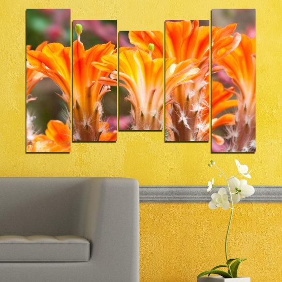 Декоративни панели и картини от канава - от 5 части №0487 » Оранжев, Кафяв, Сив » Природа, Цветя, Кактус Form #4