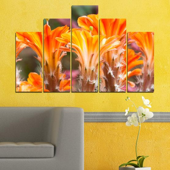 Декоративни панели и картини от канава - от 5 части №0487 » Оранжев, Кафяв, Сив » Природа, Цветя, Кактус Form #5