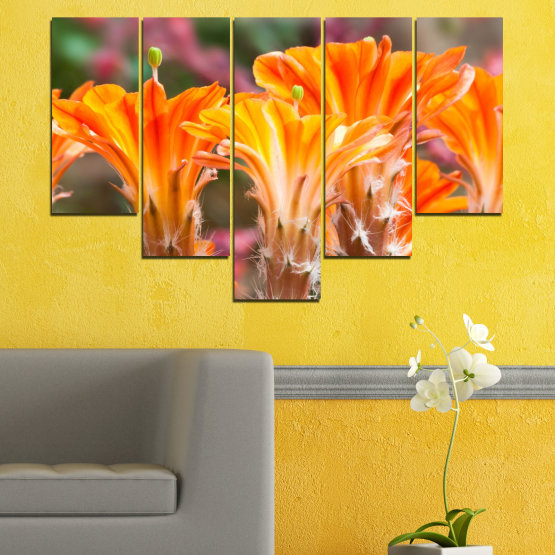 Декоративни панели и картини от канава - от 5 части №0487 » Оранжев, Кафяв, Сив » Природа, Цветя, Кактус Form #6