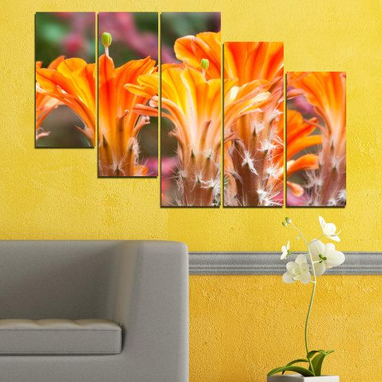 Декоративни панели и картини от канава - от 5 части №0487 » Оранжев, Кафяв, Сив » Природа, Цветя, Кактус Form #7