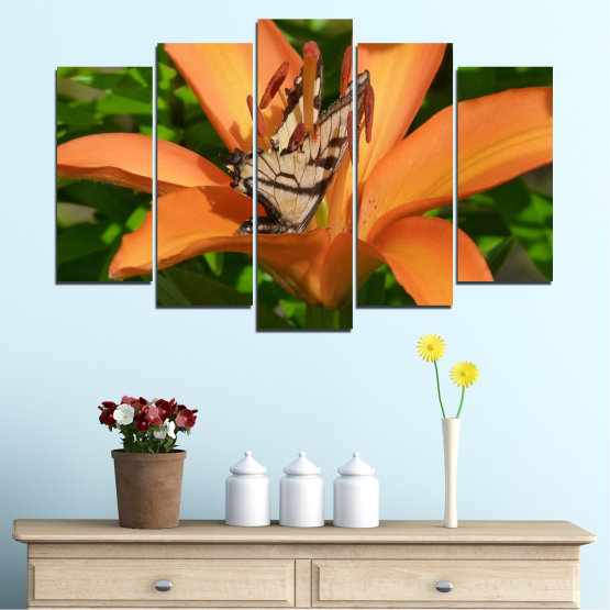 Canvas prints & wall decorative panels - 5 pieces №0489 » Green, Yellow, Orange, Brown, Black » Flowers, Nature, Butterfly Form #1