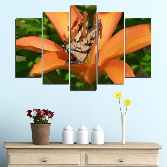 Декоративни панели и картини от канава - от 5 части №0489 » Зелен, Жълт, Оранжев, Кафяв, Черен » Природа, Цветя, Пеперуда Form #1