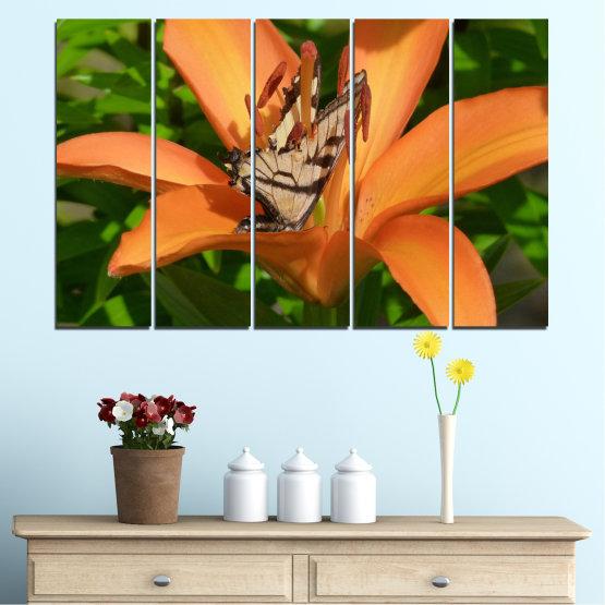 Декоративни панели и картини от канава - от 5 части №0489 » Зелен, Жълт, Оранжев, Кафяв, Черен » Природа, Цветя, Пеперуда Form #2