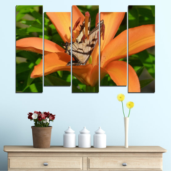 Canvas prints & wall decorative panels - 5 pieces №0489 » Green, Yellow, Orange, Brown, Black » Flowers, Nature, Butterfly Form #3