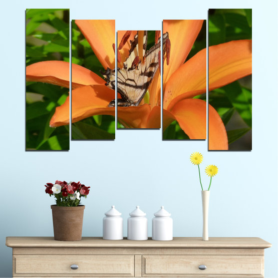 Canvas prints & wall decorative panels - 5 pieces №0489 » Green, Yellow, Orange, Brown, Black » Flowers, Nature, Butterfly Form #4
