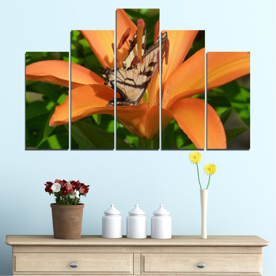 Canvas prints & wall decorative panels - 5 pieces №0489 » Green, Yellow, Orange, Brown, Black » Flowers, Nature, Butterfly Form #5
