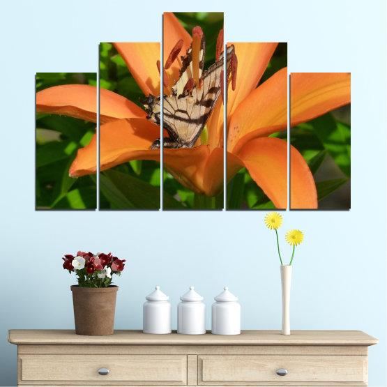 Декоративни панели и картини от канава - от 5 части №0489 » Зелен, Жълт, Оранжев, Кафяв, Черен » Природа, Цветя, Пеперуда Form #5
