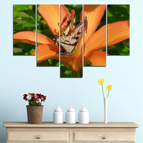 Canvas prints & wall decorative panels - 5 pieces №0489 » Green, Yellow, Orange, Brown, Black » Flowers, Nature, Butterfly Form #6