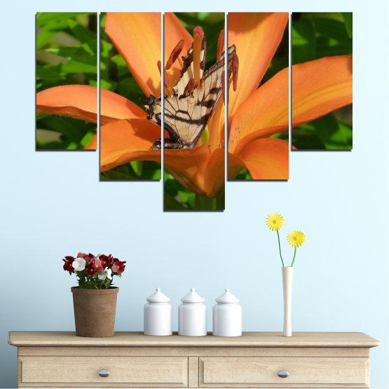 Декоративни панели и картини от канава - от 5 части №0489 » Зелен, Жълт, Оранжев, Кафяв, Черен » Природа, Цветя, Пеперуда Form #6
