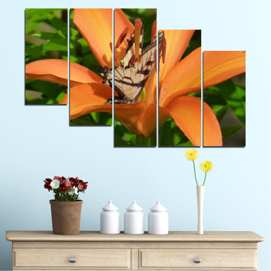 Canvas prints & wall decorative panels - 5 pieces №0489 » Green, Yellow, Orange, Brown, Black » Flowers, Nature, Butterfly Form #7