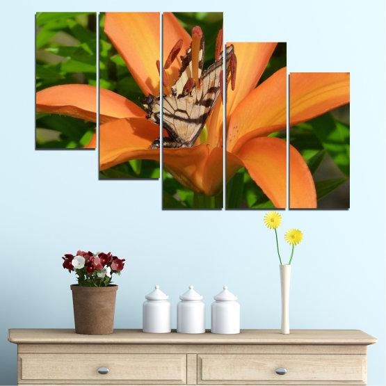 Декоративни панели и картини от канава - от 5 части №0489 » Зелен, Жълт, Оранжев, Кафяв, Черен » Природа, Цветя, Пеперуда Form #7