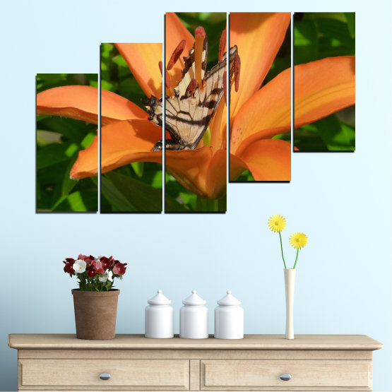 Canvas prints & wall decorative panels - 5 pieces №0489 » Green, Yellow, Orange, Brown, Black » Flowers, Nature, Butterfly Form #8