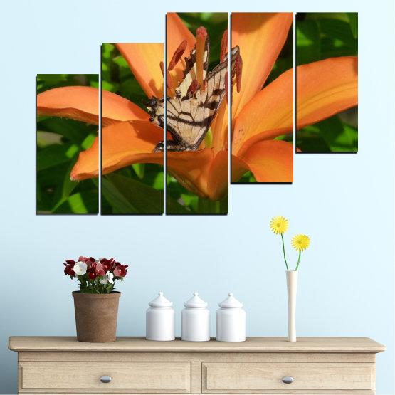 Декоративни панели и картини от канава - от 5 части №0489 » Зелен, Жълт, Оранжев, Кафяв, Черен » Природа, Цветя, Пеперуда Form #8