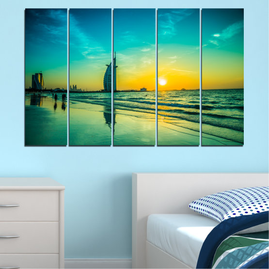 Canvas prints & wall decorative panels - 5 pieces №0491 » Blue, Green, Black, Gray, Dark grey » Nature, Landscape, Sea, Sunset, Dubai Form #2