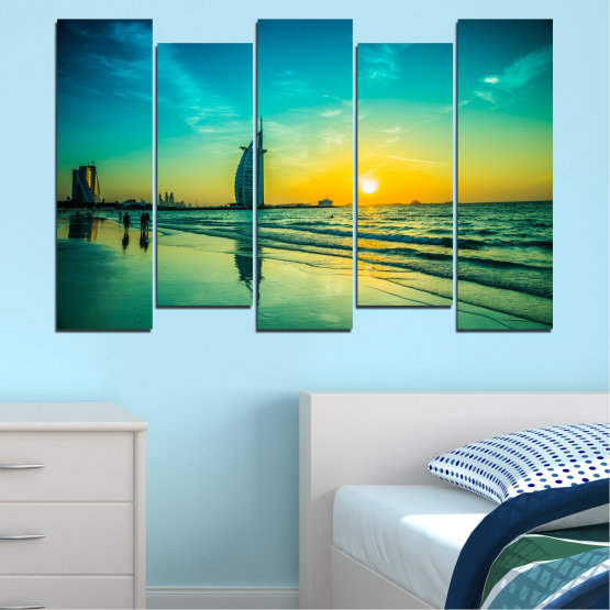 Canvas prints & wall decorative panels - 5 pieces №0491 » Blue, Green, Black, Gray, Dark grey » Nature, Landscape, Sea, Sunset, Dubai Form #3
