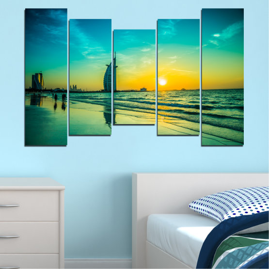 Canvas prints & wall decorative panels - 5 pieces №0491 » Blue, Green, Black, Gray, Dark grey » Nature, Landscape, Sea, Sunset, Dubai Form #4