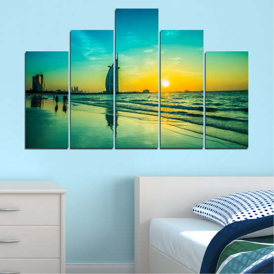 Canvas prints & wall decorative panels - 5 pieces №0491 » Blue, Green, Black, Gray, Dark grey » Nature, Landscape, Sea, Sunset, Dubai Form #5