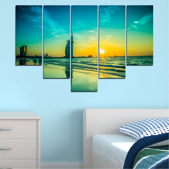 Canvas prints & wall decorative panels - 5 pieces №0491 » Blue, Green, Black, Gray, Dark grey » Nature, Landscape, Sea, Sunset, Dubai Form #6