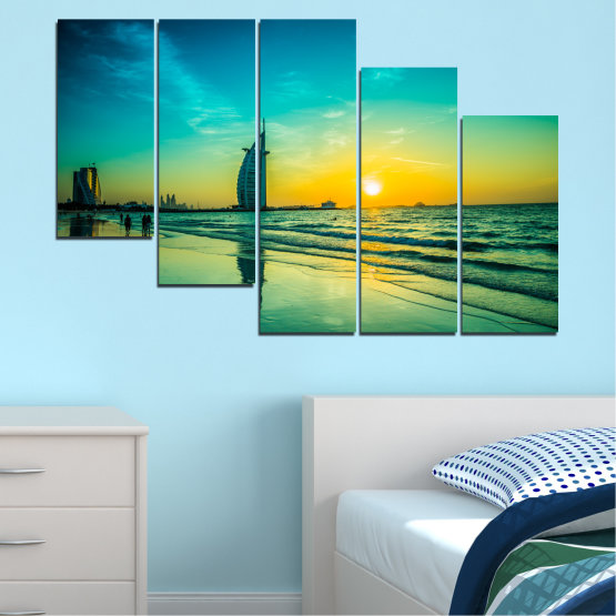 Canvas prints & wall decorative panels - 5 pieces №0491 » Blue, Green, Black, Gray, Dark grey » Nature, Landscape, Sea, Sunset, Dubai Form #7