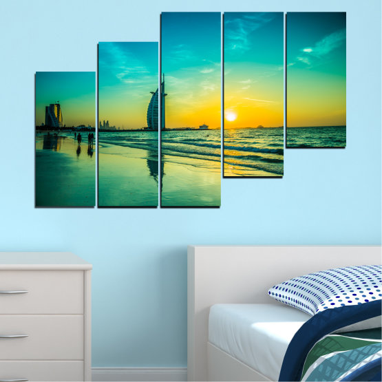 Canvas prints & wall decorative panels - 5 pieces №0491 » Blue, Green, Black, Gray, Dark grey » Nature, Landscape, Sea, Sunset, Dubai Form #8