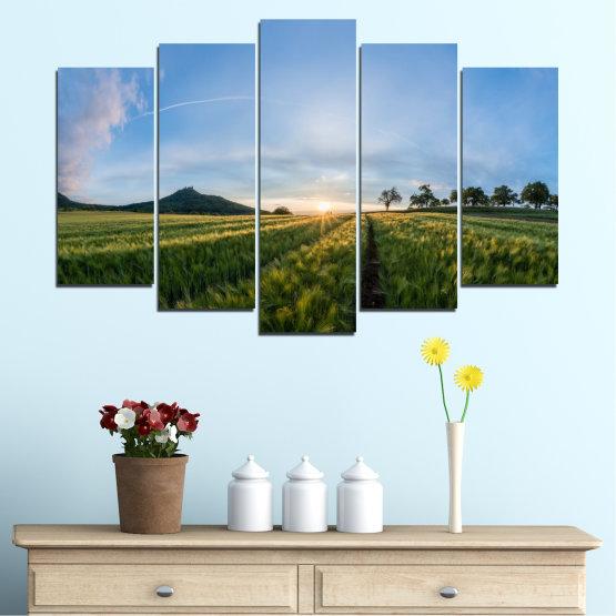 Canvas prints & wall decorative panels - 5 pieces №0493 » Turquoise, Green, Black, Gray, Dark grey » Nature, Landscape, Sun, Sunrise, Field Form #1