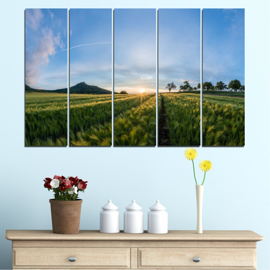 Canvas prints & wall decorative panels - 5 pieces №0493 » Turquoise, Green, Black, Gray, Dark grey » Nature, Landscape, Sun, Sunrise, Field Form #2