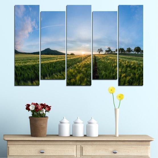 Canvas prints & wall decorative panels - 5 pieces №0493 » Turquoise, Green, Black, Gray, Dark grey » Nature, Landscape, Sun, Sunrise, Field Form #3