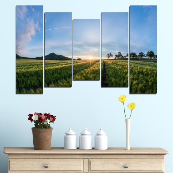 Canvas prints & wall decorative panels - 5 pieces №0493 » Turquoise, Green, Black, Gray, Dark grey » Landscape, Nature, Sun, Sunrise, Field Form #4
