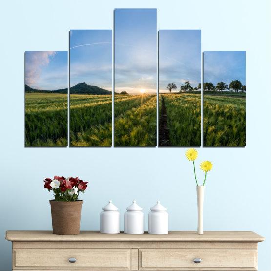 Canvas prints & wall decorative panels - 5 pieces №0493 » Turquoise, Green, Black, Gray, Dark grey » Nature, Landscape, Sun, Sunrise, Field Form #5