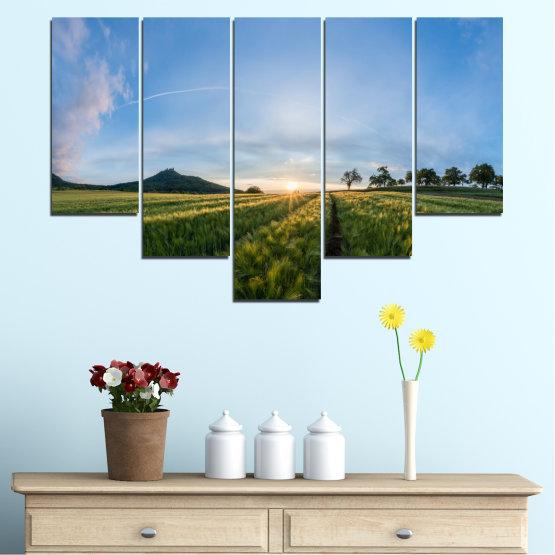 Canvas prints & wall decorative panels - 5 pieces №0493 » Turquoise, Green, Black, Gray, Dark grey » Landscape, Nature, Sun, Sunrise, Field Form #6