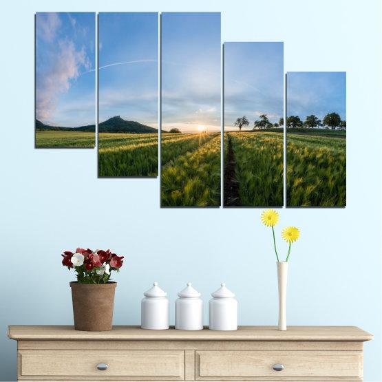 Canvas prints & wall decorative panels - 5 pieces №0493 » Turquoise, Green, Black, Gray, Dark grey » Landscape, Nature, Sun, Sunrise, Field Form #7