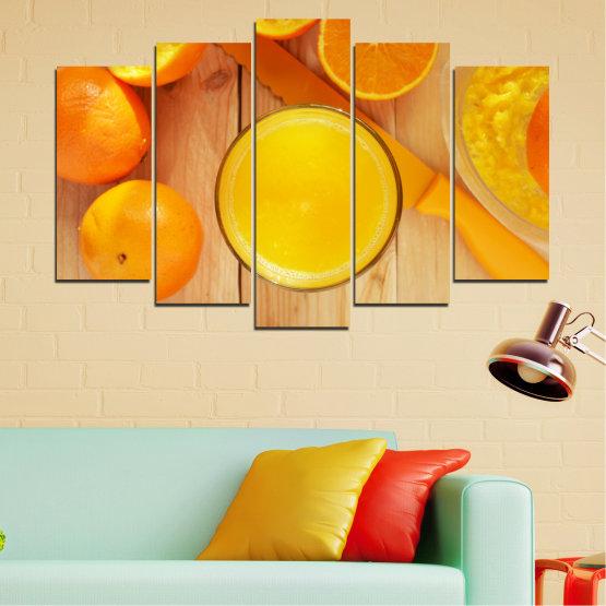 Декоративни панели и картини от канава - от 5 части №0494 » Зелен, Жълт, Оранжев » Кулинарен, Плодове, Портокал Form #1