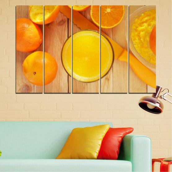 Декоративни панели и картини от канава - от 5 части №0494 » Зелен, Жълт, Оранжев » Кулинарен, Плодове, Портокал Form #2