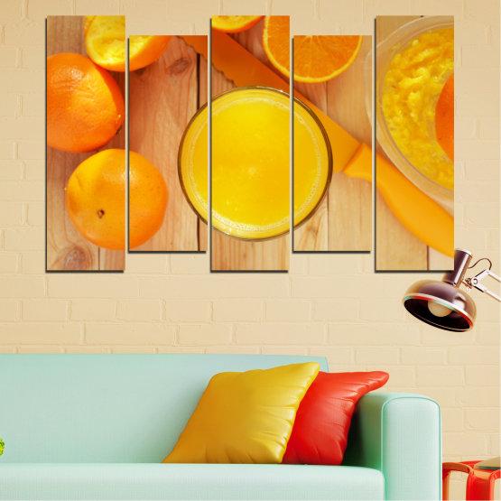 Декоративни панели и картини от канава - от 5 части №0494 » Зелен, Жълт, Оранжев » Кулинарен, Плодове, Портокал Form #3