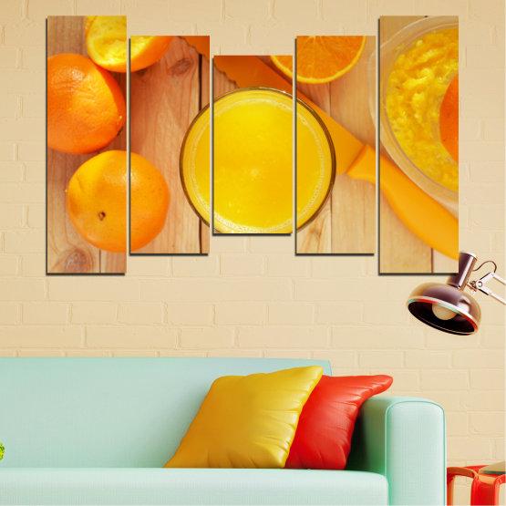 Декоративни панели и картини от канава - от 5 части №0494 » Зелен, Жълт, Оранжев » Кулинарен, Плодове, Портокал Form #4