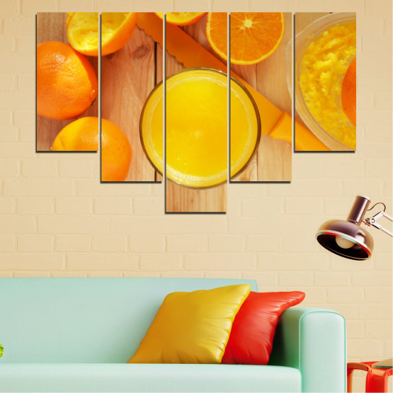 Декоративни панели и картини от канава - от 5 части №0494 » Зелен, Жълт, Оранжев » Кулинарен, Плодове, Портокал Form #6