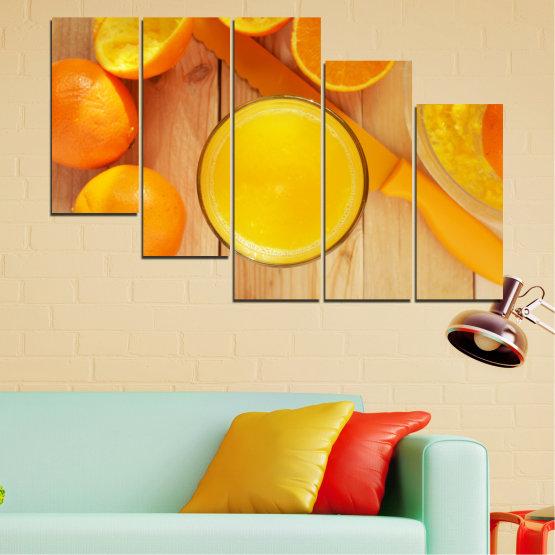 Декоративни панели и картини от канава - от 5 части №0494 » Зелен, Жълт, Оранжев » Кулинарен, Плодове, Портокал Form #7