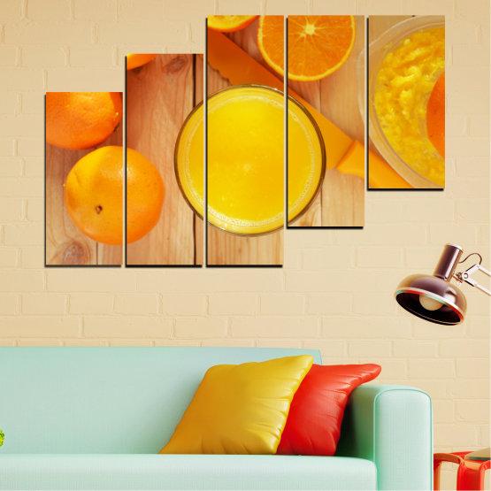 Декоративни панели и картини от канава - от 5 части №0494 » Зелен, Жълт, Оранжев » Кулинарен, Плодове, Портокал Form #8