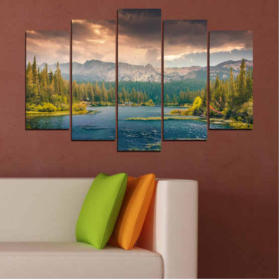 Canvas prints & wall decorative panels - 5 pieces №0495 » Green, Brown, Gray, Beige, Dark grey » Landscape, Nature, Water, Forest, Mountain, Cloud Form #1