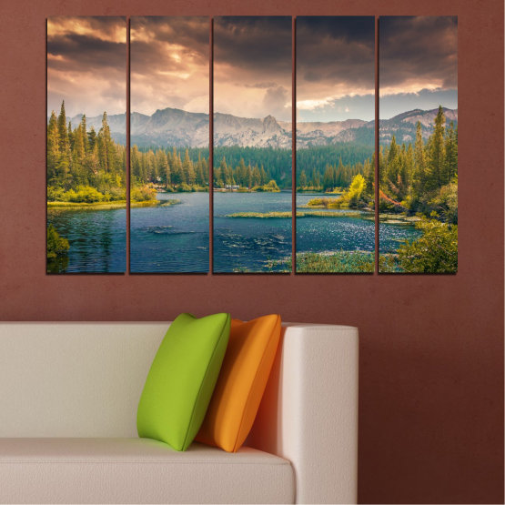 Canvas prints & wall decorative panels - 5 pieces №0495 » Green, Brown, Gray, Beige, Dark grey » Landscape, Nature, Water, Forest, Mountain, Cloud Form #2