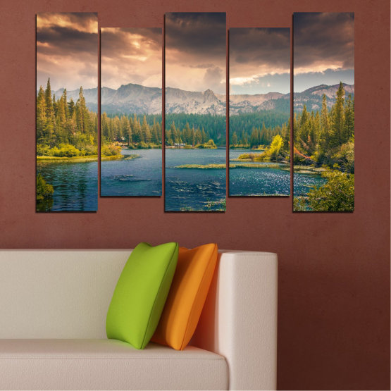 Canvas prints & wall decorative panels - 5 pieces №0495 » Green, Brown, Gray, Beige, Dark grey » Landscape, Nature, Water, Forest, Mountain, Cloud Form #3