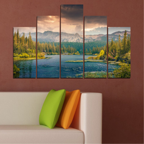 Canvas prints & wall decorative panels - 5 pieces №0495 » Green, Brown, Gray, Beige, Dark grey » Landscape, Nature, Water, Forest, Mountain, Cloud Form #5