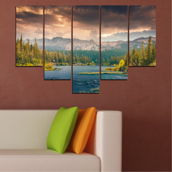 Canvas prints & wall decorative panels - 5 pieces №0495 » Green, Brown, Gray, Beige, Dark grey » Landscape, Nature, Water, Forest, Mountain, Cloud Form #6