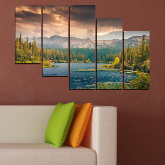 Canvas prints & wall decorative panels - 5 pieces №0495 » Green, Brown, Gray, Beige, Dark grey » Landscape, Nature, Water, Forest, Mountain, Cloud Form #7