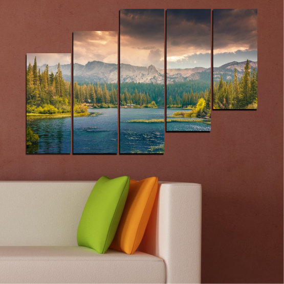 Canvas prints & wall decorative panels - 5 pieces №0495 » Green, Brown, Gray, Beige, Dark grey » Landscape, Nature, Water, Forest, Mountain, Cloud Form #8